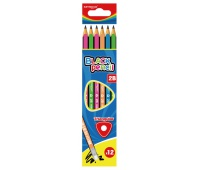 Ołówek drewniany KEYROAD, 2B, trójkątny, zawieszka, 12szt., mix kolorów, Ołówki, Artykuły do pisania i korygowania