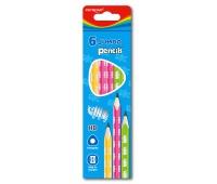 Ołówek drewniany KEYROAD, HB, trójkątny, jumbo, zawieszka, 6szt., mix kolorów, Ołówki, Artykuły do pisania i korygowania
