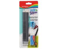 Zestaw ołówków dreanianych KEYROAD, z gumką i temperówką, HB, blister, mix kolorów, Ołówki, Artykuły do pisania i korygowania