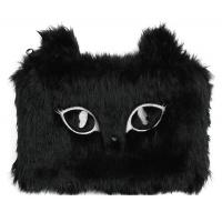 Piórnik-saszetka MEMORIS Fluffy Cat, włochata, na suwak, czarna, Piórniki, Artykuły szkolne