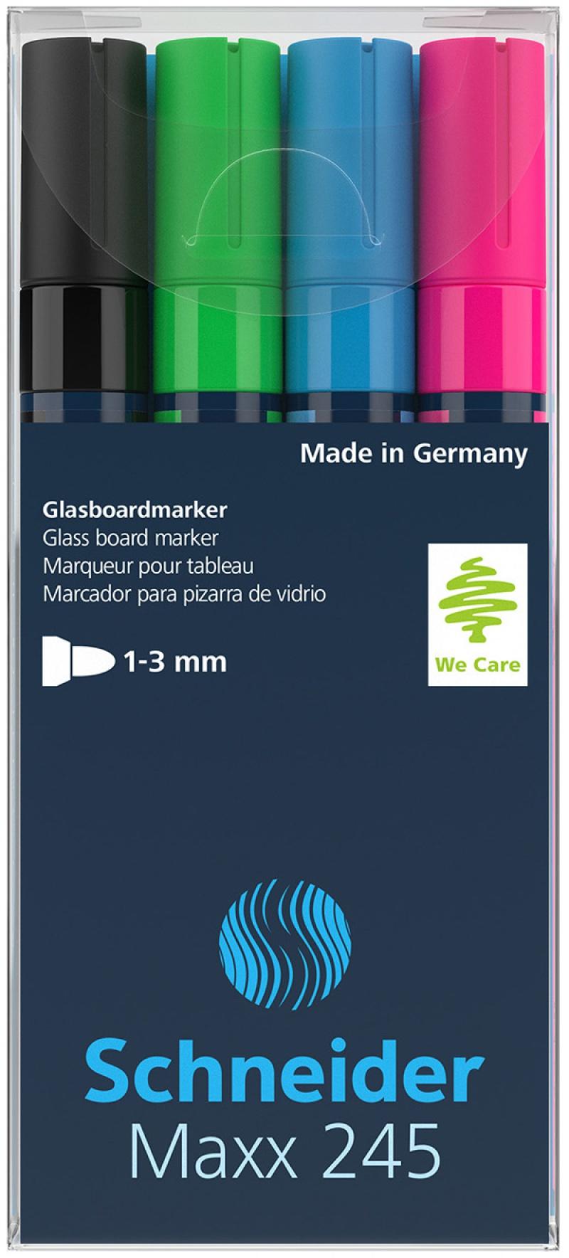 Marker do szklanych tablic SCHNEIDER Maxx 245 C, 2-3mm, 4szt., mix kolorów, Markery, Artykuły do pisania i korygowania