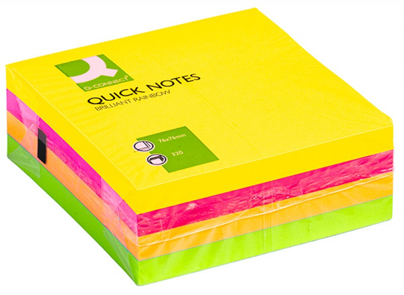 Self-adhesive Cube Q-CONNECT Briliant, 76x76mm, 1x320 sheets, neon