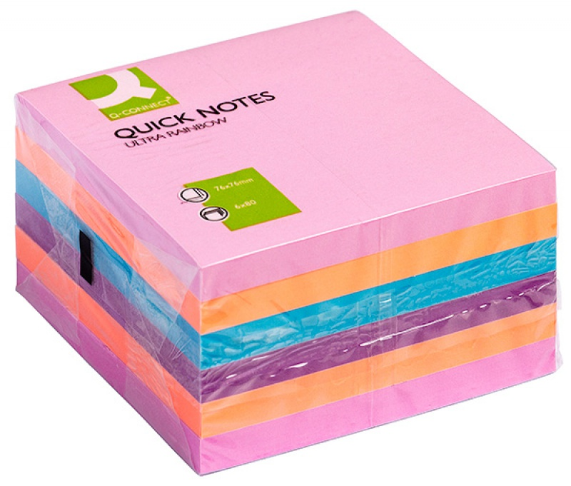 Zestaw bloczków samoprzylepnych Q-CONNECT, 76x76mm, 6x75 kart., mix kolorów