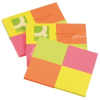 Self-adhesive Pad Q-CONNECT Brilliant, notepad, 38x51mm, 4x50 sheets, neon