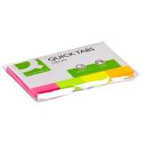 Filing Index Tabs Q-CONNECT, paper, 20x50mm, 4x50 tabs, assorted colours
