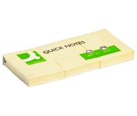 Self-adhesive Pad Q-CONNECT, 38x51mm, 3x100 sheets, light yellow