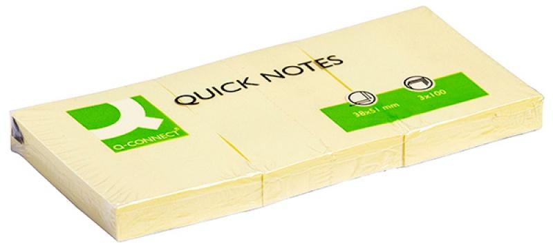 Bloczek samoprzylepny Q-CONNECT, 38x51mm, 3x100 kart., jasnożółty