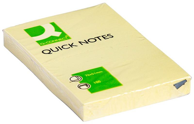 Bloczek samoprzylepny Q-CONNECT, 51x76mm, 1x100 kart., jasnożółty