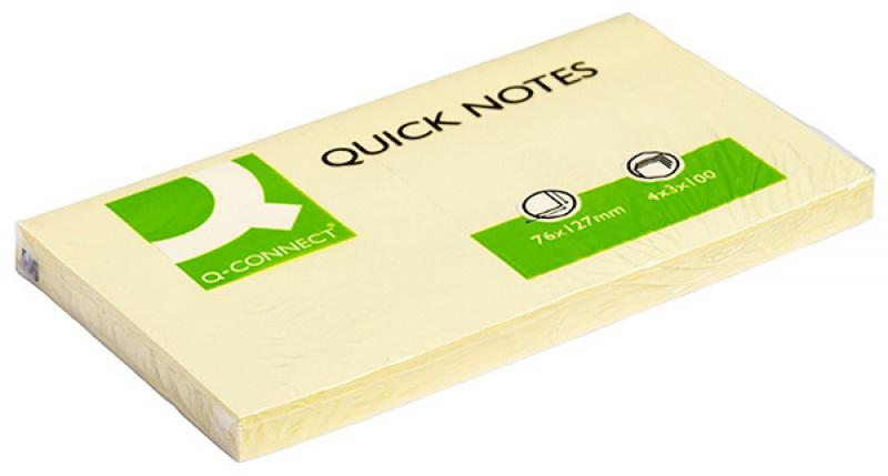 Bloczek samoprzylepny Q-CONNECT, 127x76mm, 1x100 kart., jasnożółty
