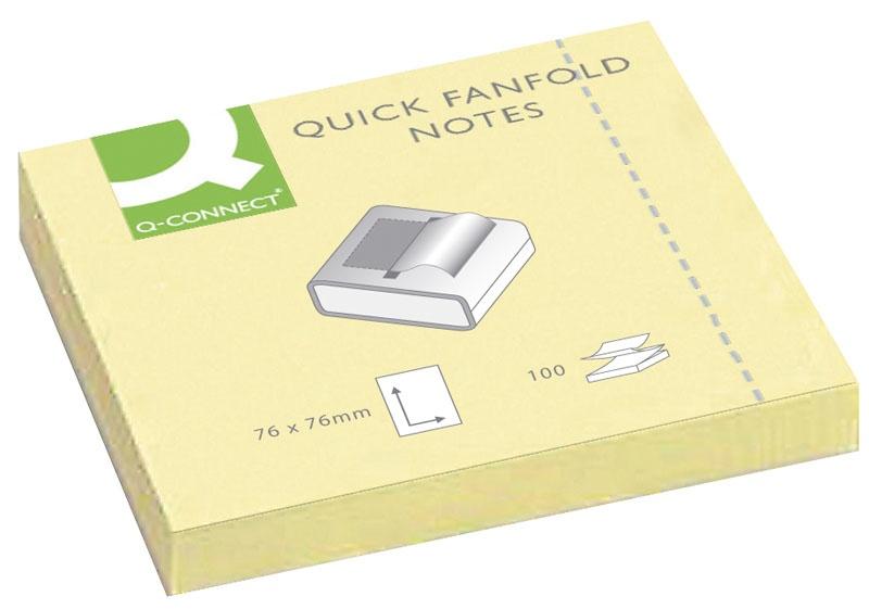 Bloczek samop. Q-CONNECT, typu Z, 76x76mm, 1x100 kart., jasnożółty, Bloczki samoprzylepne, Papier i etykiety