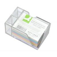 Przybornik na biurko Q-CONNECT na długopisy, z kolorowymi karteczkami, przeźroczysty, Przyborniki na biurko, Drobne akcesoria biurowe