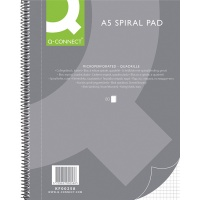 Spiral Notebook Q-CONNECT, A5, square ruled, 80sheets, 70gsm, perforation