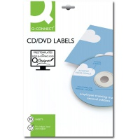 CD/DVD Labels Q-CONNECT, diameter 117mm, round, white