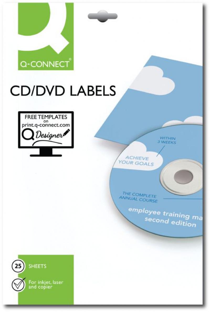 Etykiety na płyty CD/DVD Q-CONNECT, średnica 117mm, okrągłe, białe, Etykiety samoprzylepne, Papier i etykiety