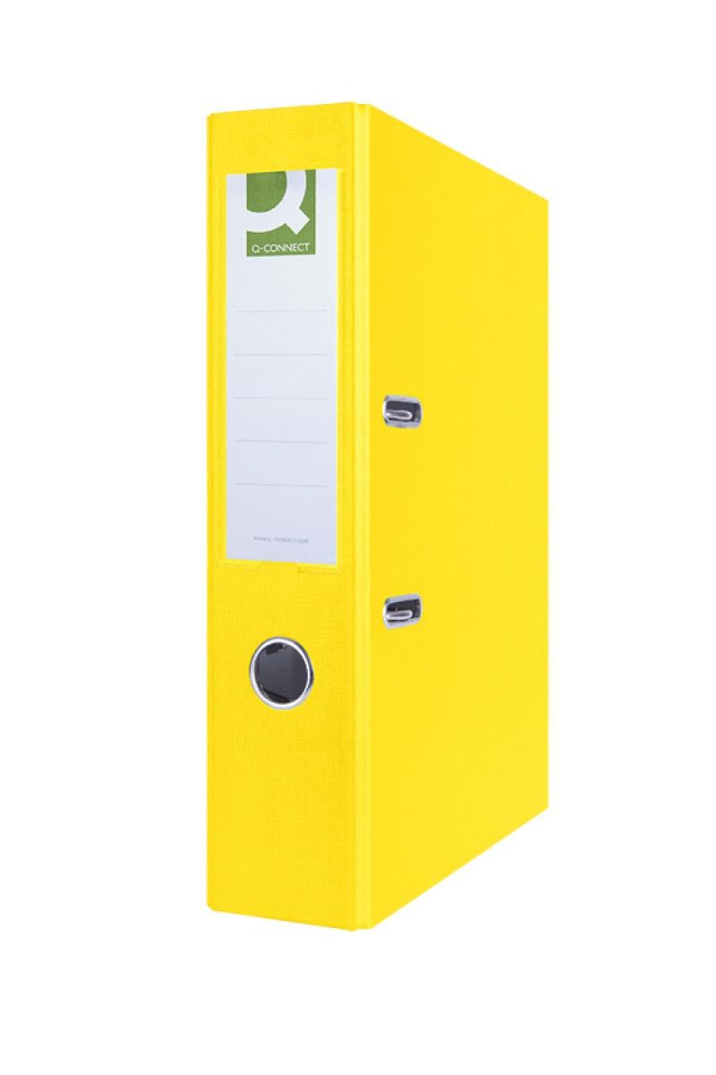Segregator Q-CONNECT Hero, PP, A4/75mm, żółty, Segregatory polipropylenowe, Archiwizacja dokumentów