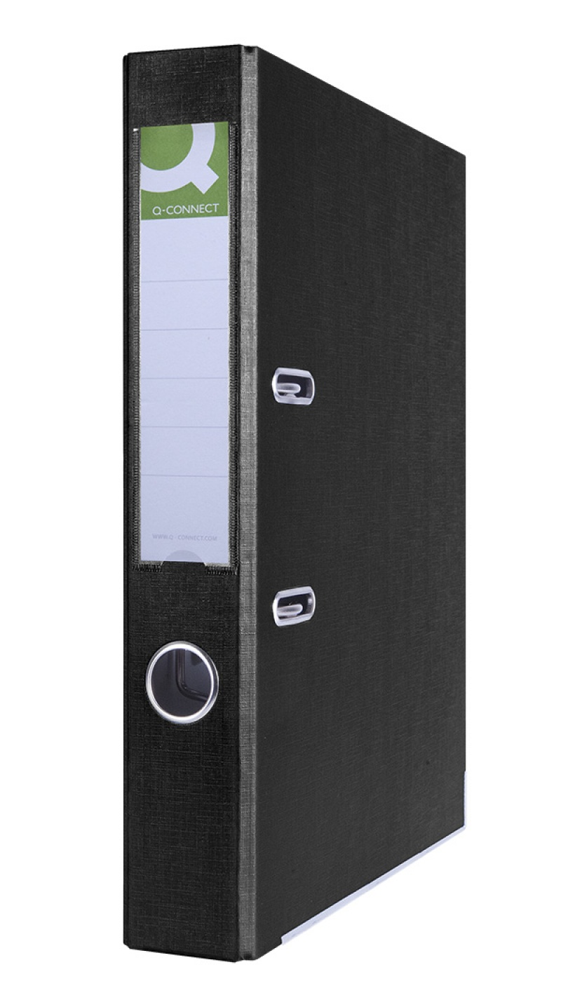 Segregator Q-CONNECT Hero z szyną, PP, A4/55mm, czarny, Segregatory polipropylenowe, Archiwizacja dokumentów