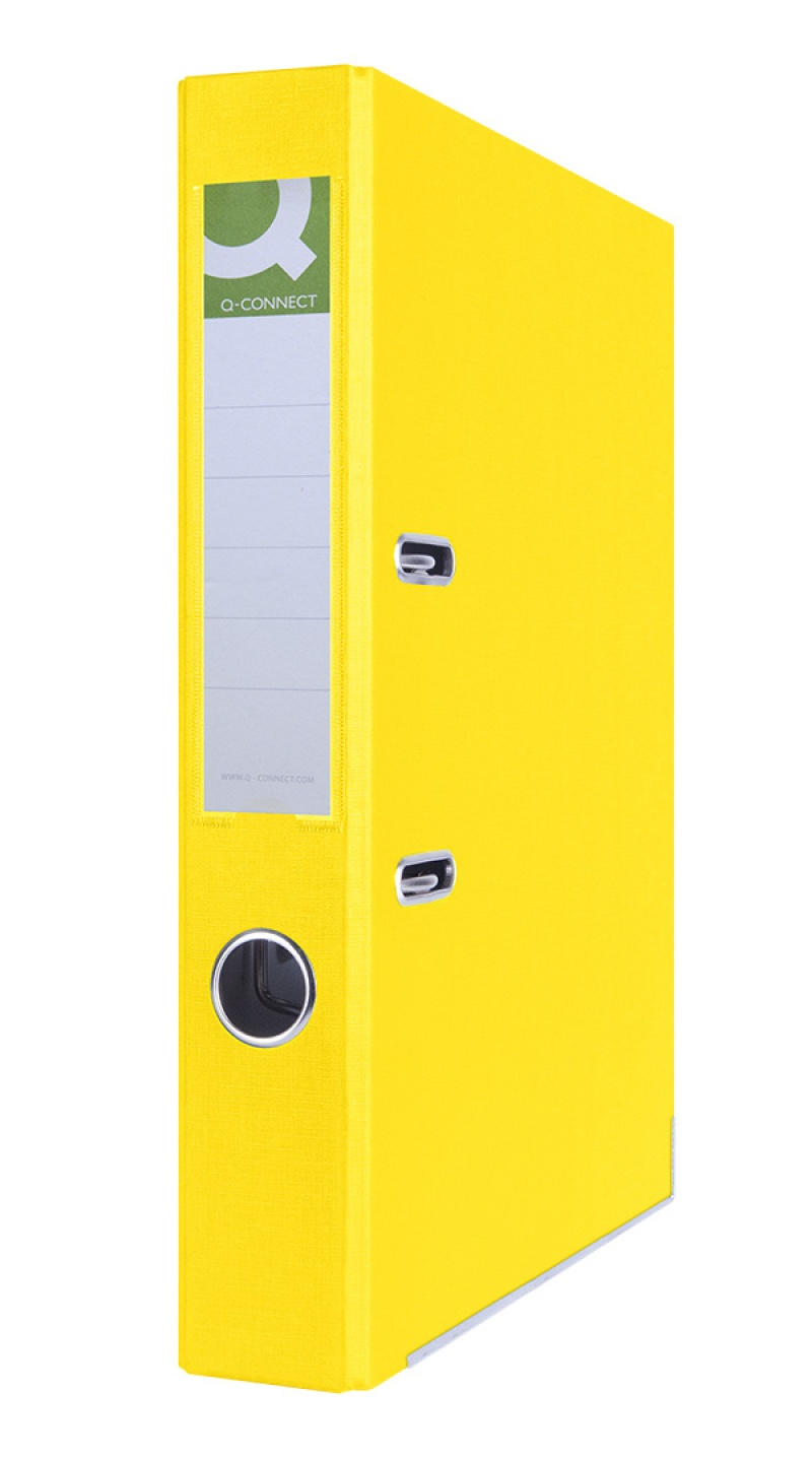 Segregator Q-CONNECT Hero z szyną, PP, A4/55mm, żółty, Segregatory polipropylenowe, Archiwizacja dokumentów