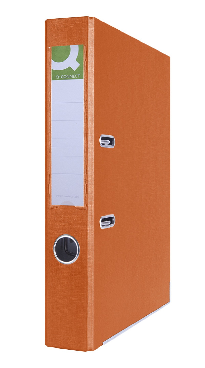 Segregator Q-CONNECT Hero z szyną, PP, A4/55mm, pomarańczowy, Segregatory polipropylenowe, Archiwizacja dokumentów