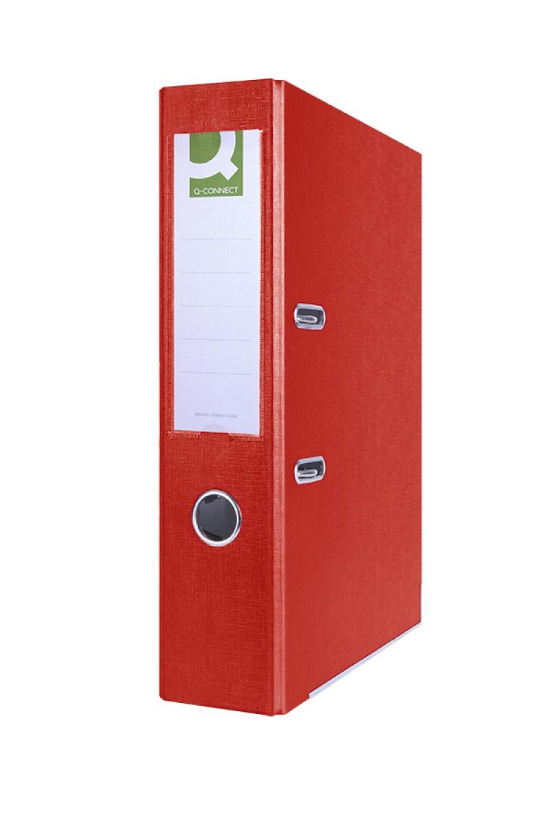 Segregator Q-CONNECT Hero z szyną, PP, A4/75mm, czerwony, Segregatory polipropylenowe, Archiwizacja dokumentów