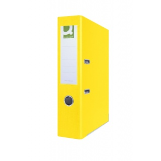 Segregator Q-CONNECT Hero z szyną, PP, A4/75mm, żółty, Segregatory polipropylenowe, Archiwizacja dokumentów