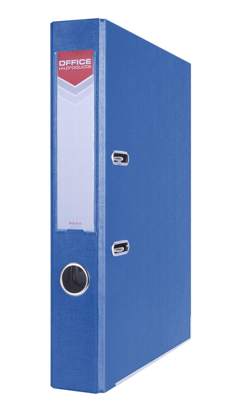 Segregator OFFICE PRODUCTS Officer z szyną, PP, A4/55mm, niebieski, Segregatory polipropylenowe, Archiwizacja dokumentów