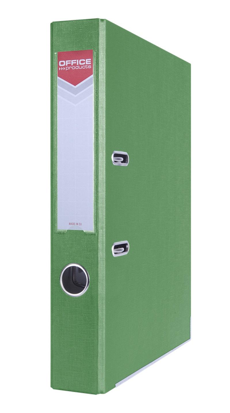 Segregator OFFICE PRODUCTS Officer z szyną, PP, A4/55mm, zielony, Segregatory polipropylenowe, Archiwizacja dokumentów