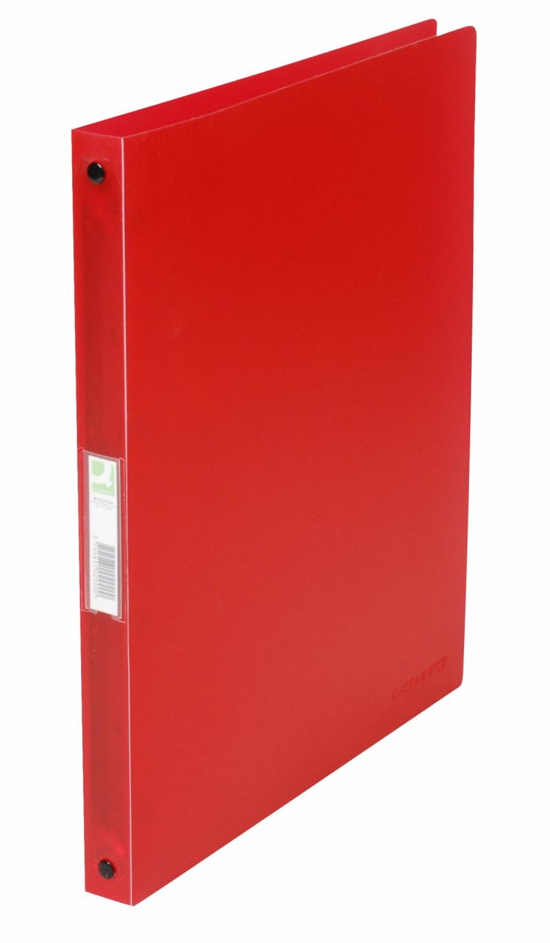 Segregator ringowy Q-CONNECT, PP, A4/4R/16mm, transparentny czerwony, Segregatory ringowe, Archiwizacja dokumentów