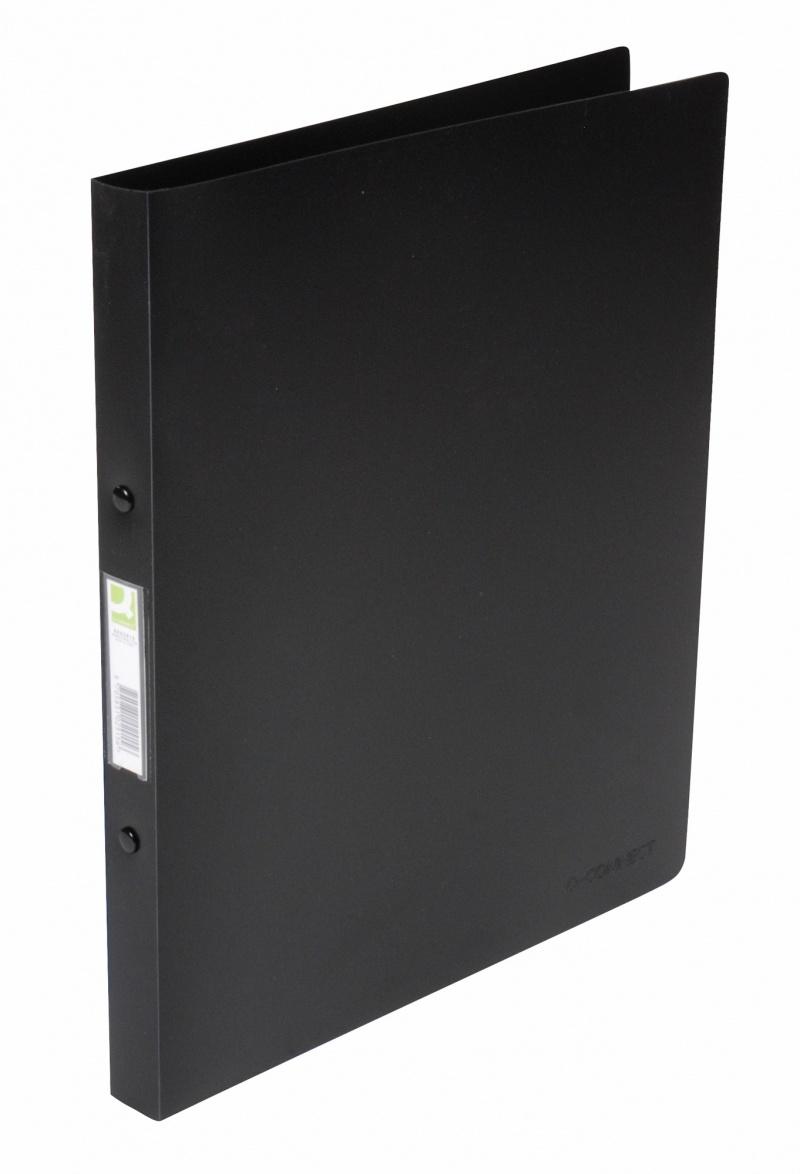 Segregator ringowy Q-CONNECT, PP, A4/4R/16mm, transparenty czarny, Segregatory ringowe, Archiwizacja dokumentów