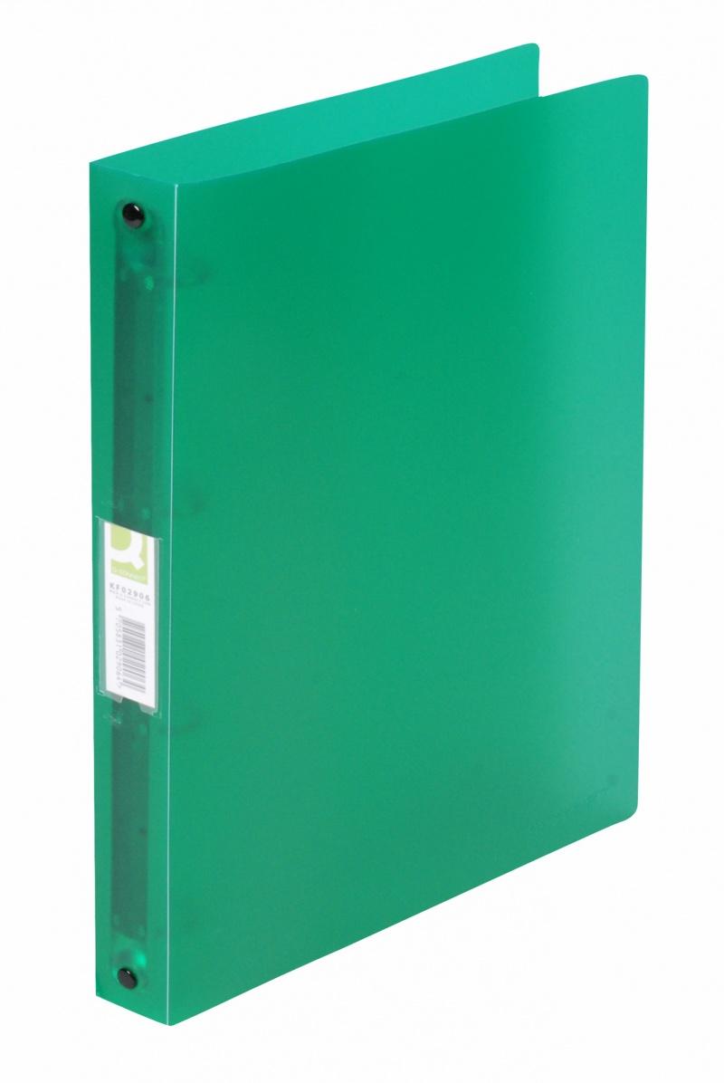 Segregator ringowy Q-CONNECT, PP, A4/4R/25mm, transparentny zielony, Segregatory ringowe, Archiwizacja dokumentów