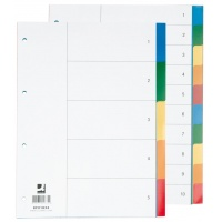 Dividers Q-CONNECT, PP, A4, 230x297mm, 10+1 pcs, assorted colours
