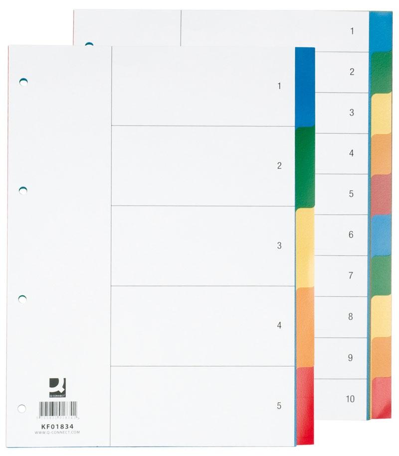Przekładki Q-CONNECT, PP, A4, 230x297mm, 10+1 kart, mix kolorów, Przekładki polipropylenowe, Archiwizacja dokumentów