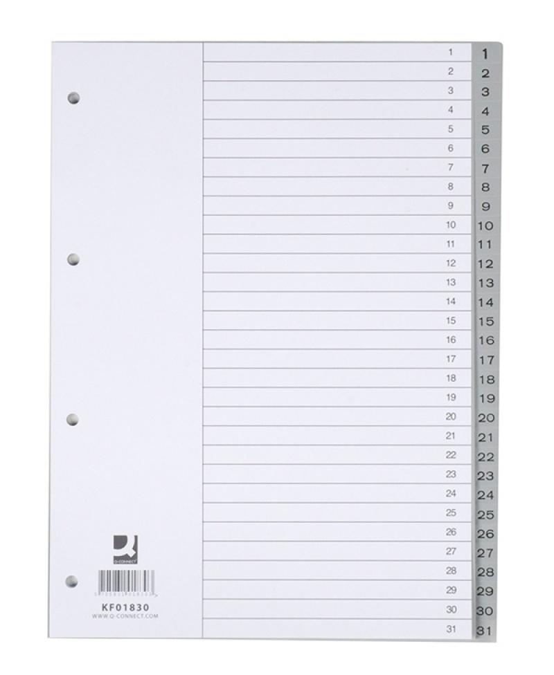 Przekładki Q-CONNECT, PP, A4, 230x297mm, 1-31, 31 kart, szare, Przekładki polipropylenowe, Archiwizacja dokumentów
