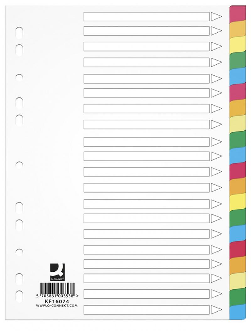 Przekładki Q-CONNECT, PP, A4, 225x297mm, 20 kart, mix kolorów, Przekładki polipropylenowe, Archiwizacja dokumentów