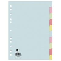 Przekładki Q-CONNECT, karton, A4, 223x297mm, 10 kart, mix kolorów