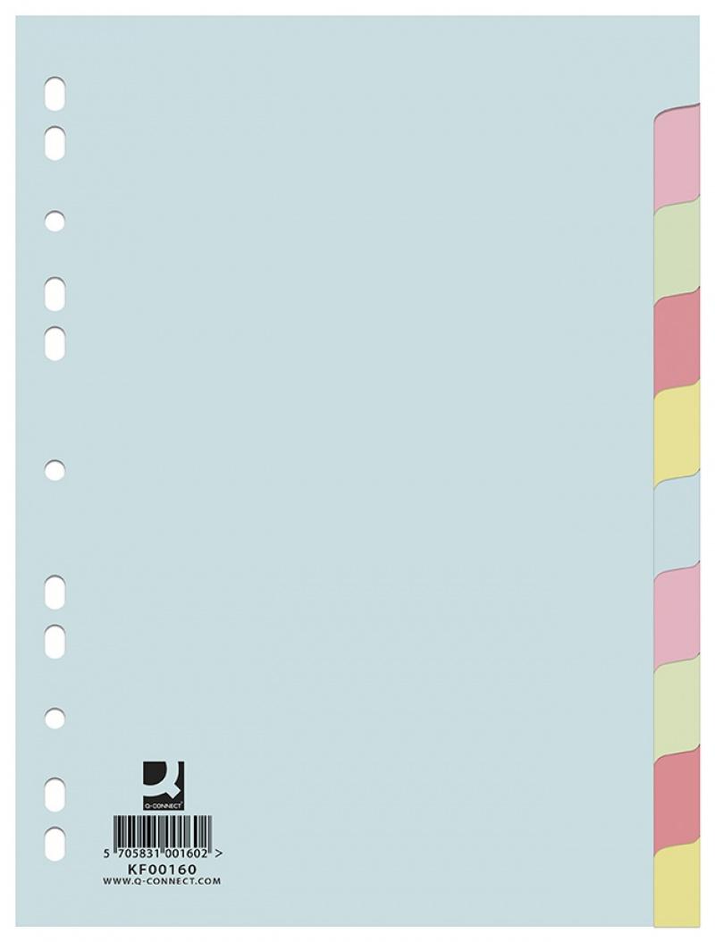 Przekładki Q-CONNECT, karton, A4, 223x297mm, 10 kart, mix kolorów, Przekładki kartonowe, Archiwizacja dokumentów