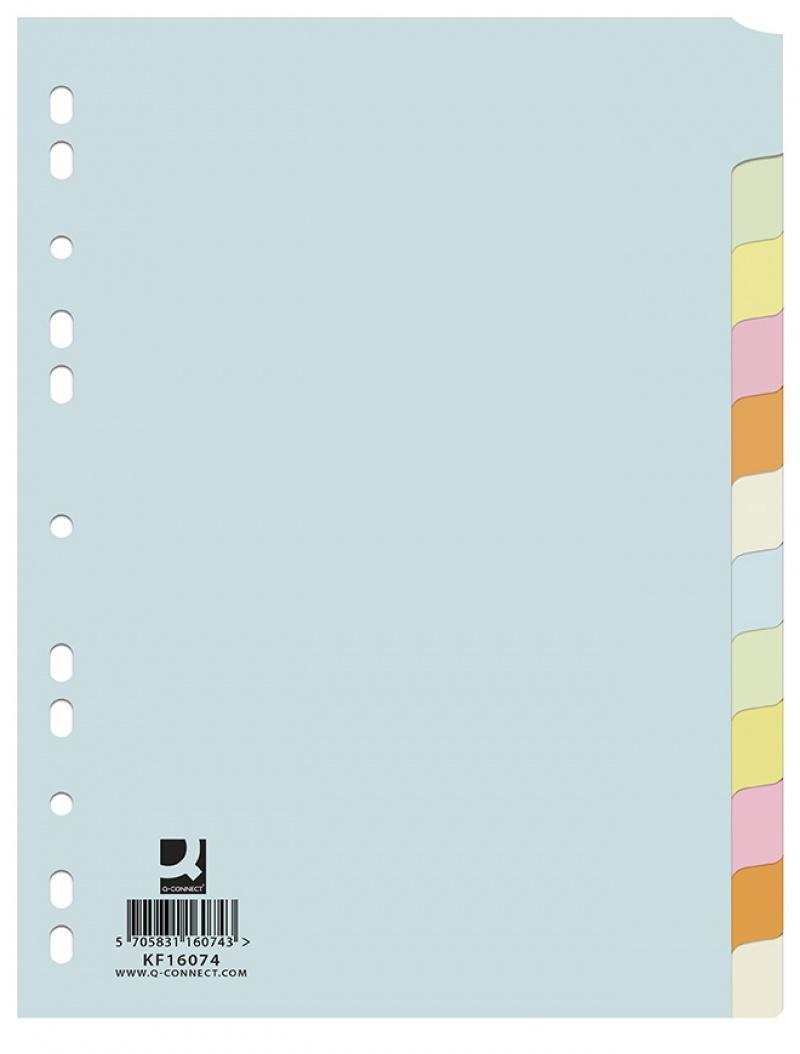 Przekładki Q-CONNECT, karton, A4, 223x297mm, 12 kart, mix kolorów, Przekładki kartonowe, Archiwizacja dokumentów
