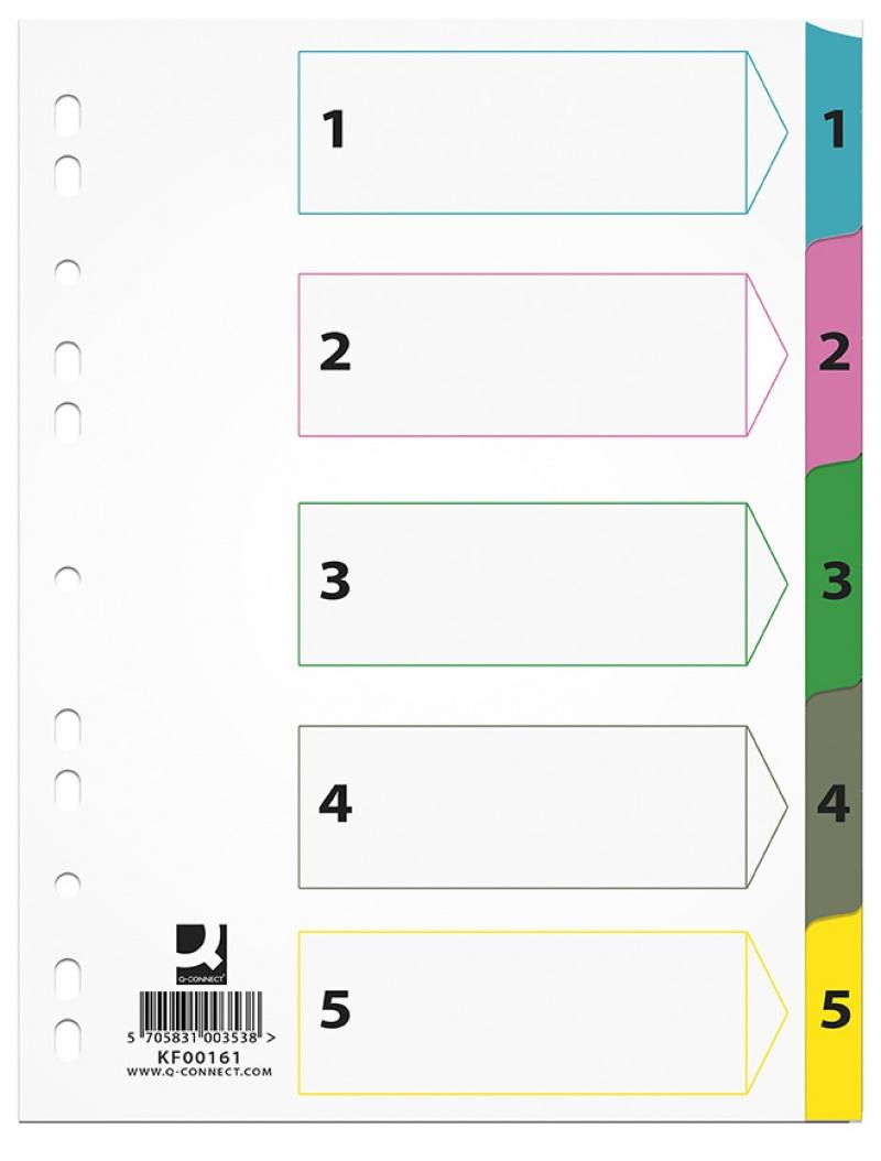 Przekładki Q-CONNECT Mylar, karton, A4, 225x297mm, 1-5, 5 kart, lam. indeks, mix kolorów, Przekładki kartonowe, Archiwizacja dokumentów