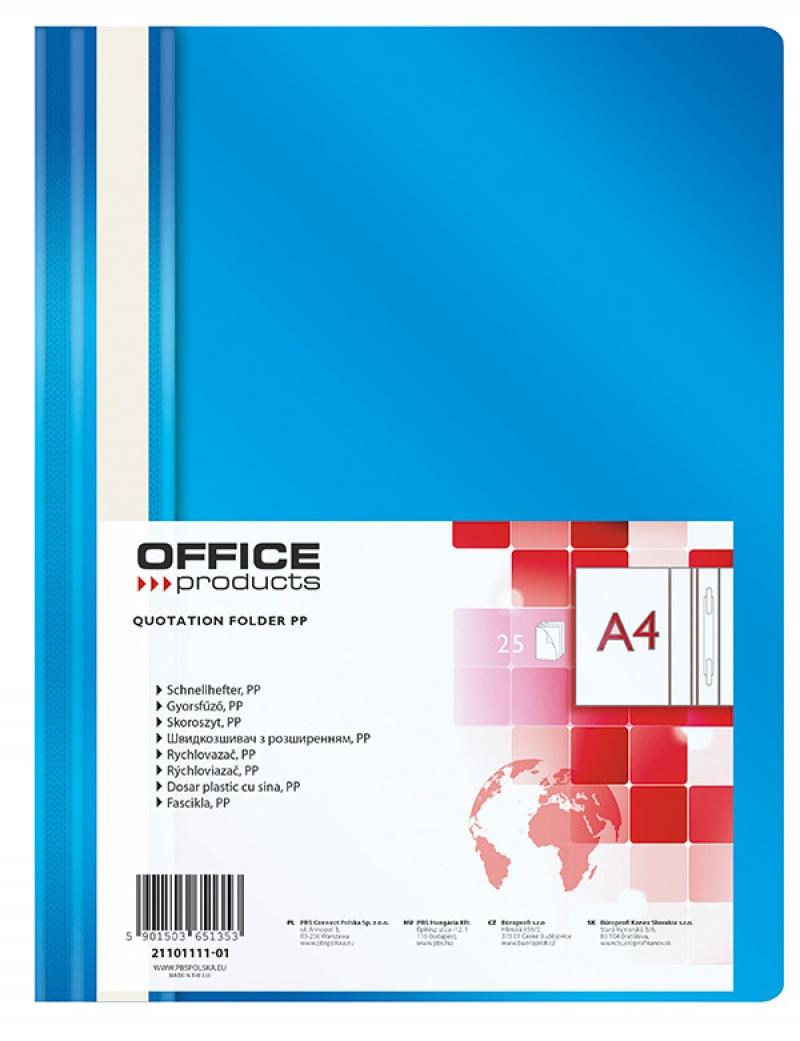 Skoroszyt OFFICE PRODUCTS, PP, A4, miękki, 100/170mikr., niebieski, Skoroszyty podstawowe, Archiwizacja dokumentów