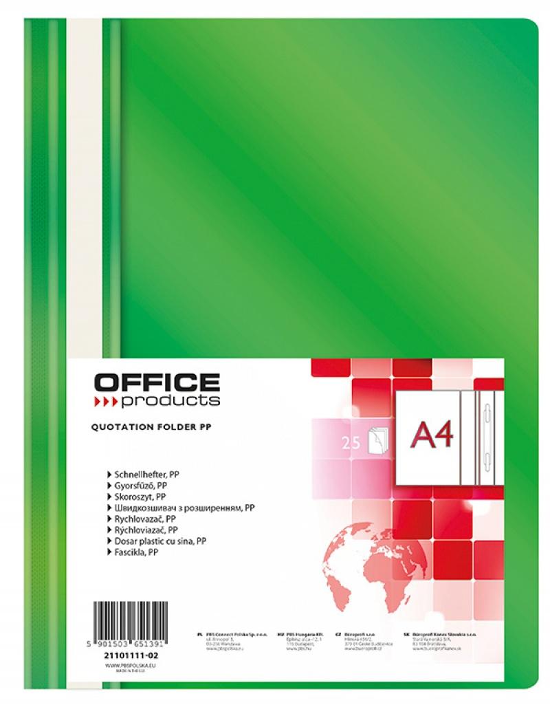 Skoroszyt OFFICE PRODUCTS, PP, A4, miękki, 100/170mikr., zielony, Skoroszyty podstawowe, Archiwizacja dokumentów