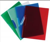 Clip Report File Q-CONNECT, plastic clip, PP, A4, 520 micron, transparent red