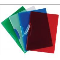 Skoroszyt z plastikowym klipsem PP A4 520mikr. transparentny czerwony, Skoroszyty pozostałe, Archiwizacja dokumentów