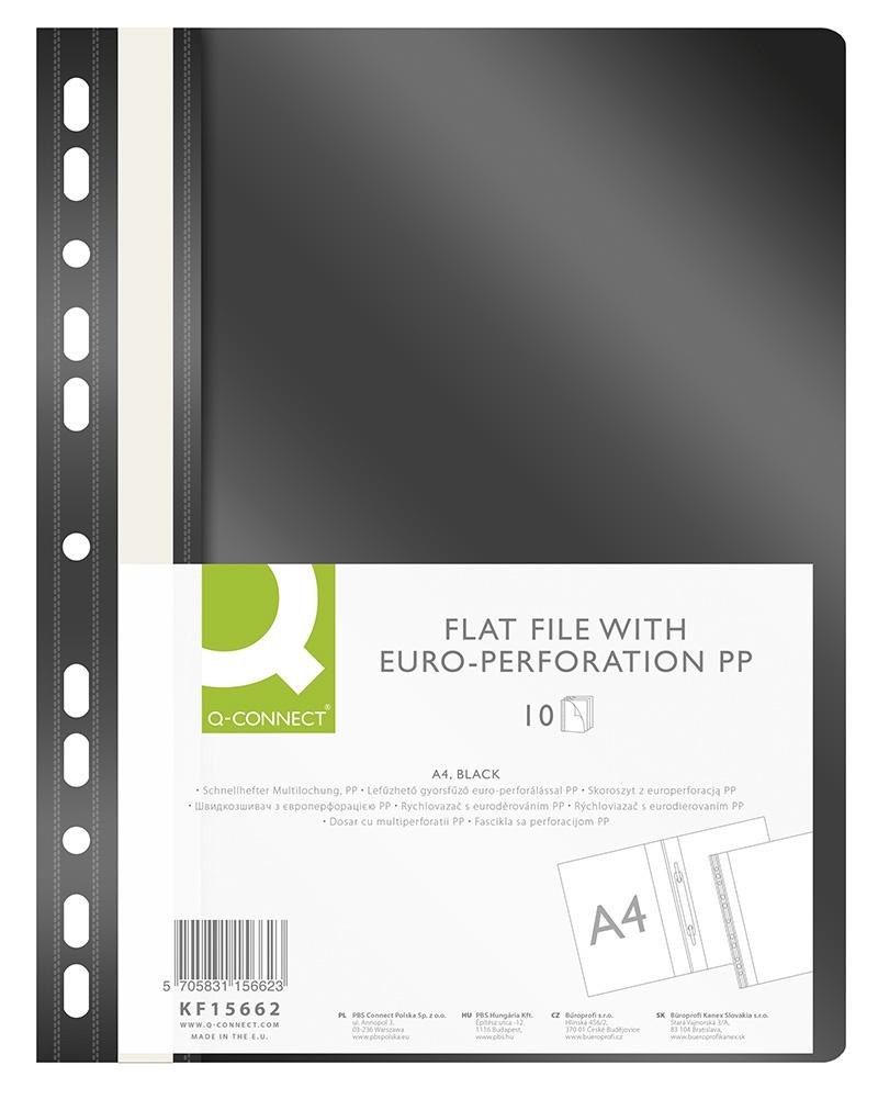 Skoroszyt Q-CONNECT, PP, A4, standard, 120/170mikr., wpinany, czarny, Skoroszyty do segregatora, Archiwizacja dokumentów