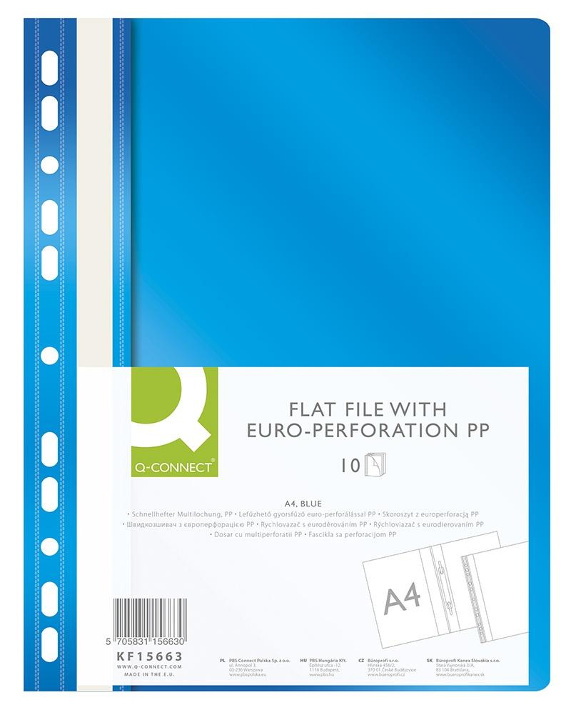 Skoroszyt Q-CONNECT, PP, A4, standard, 120/170mikr., wpinany, niebieski, Skoroszyty do segregatora, Archiwizacja dokumentów