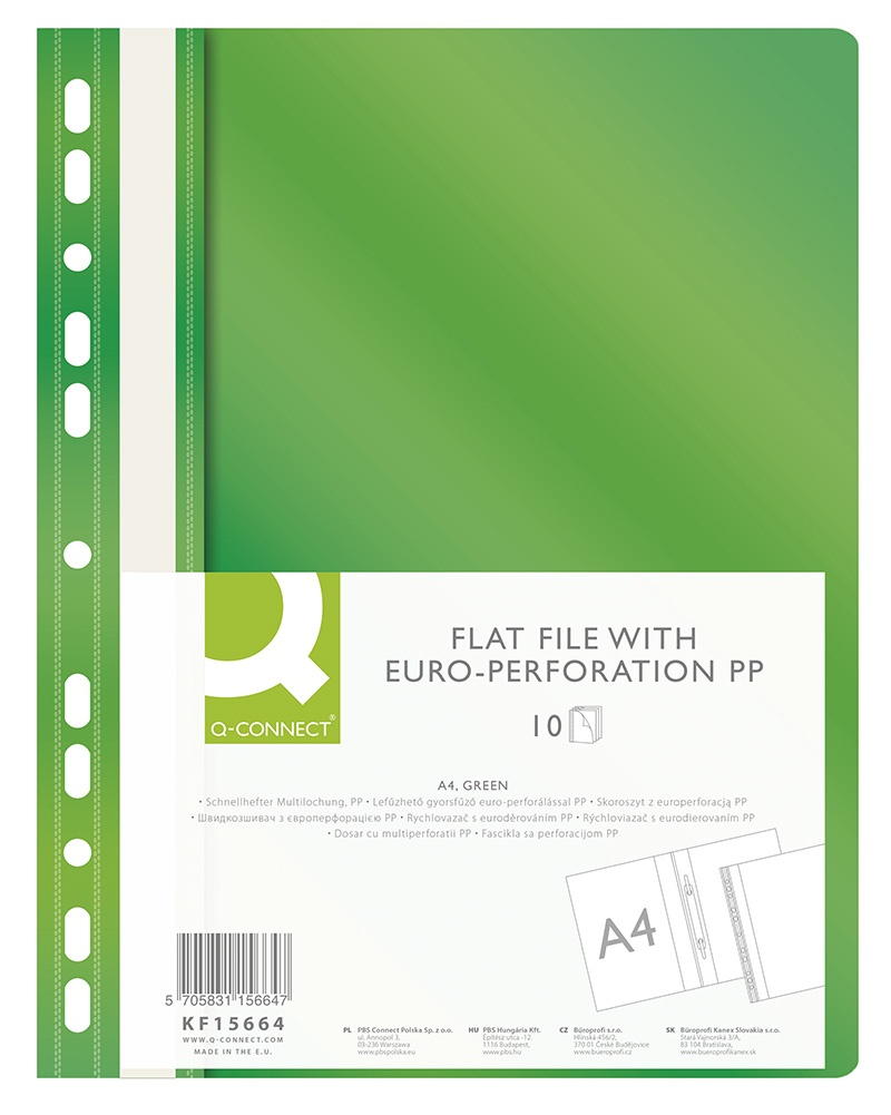 Skoroszyt Q-CONNECT, PP, A4, standard, 120/170mikr., wpinany, zielony, Skoroszyty do segregatora, Archiwizacja dokumentów