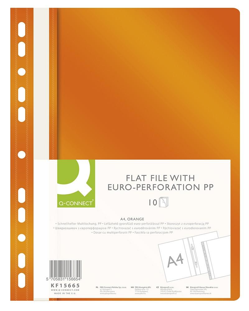 Skoroszyt Q-CONNECT, PP, A4, standard, 120/170mikr., wpinany, pomarańczowy, Skoroszyty do segregatora, Archiwizacja dokumentów