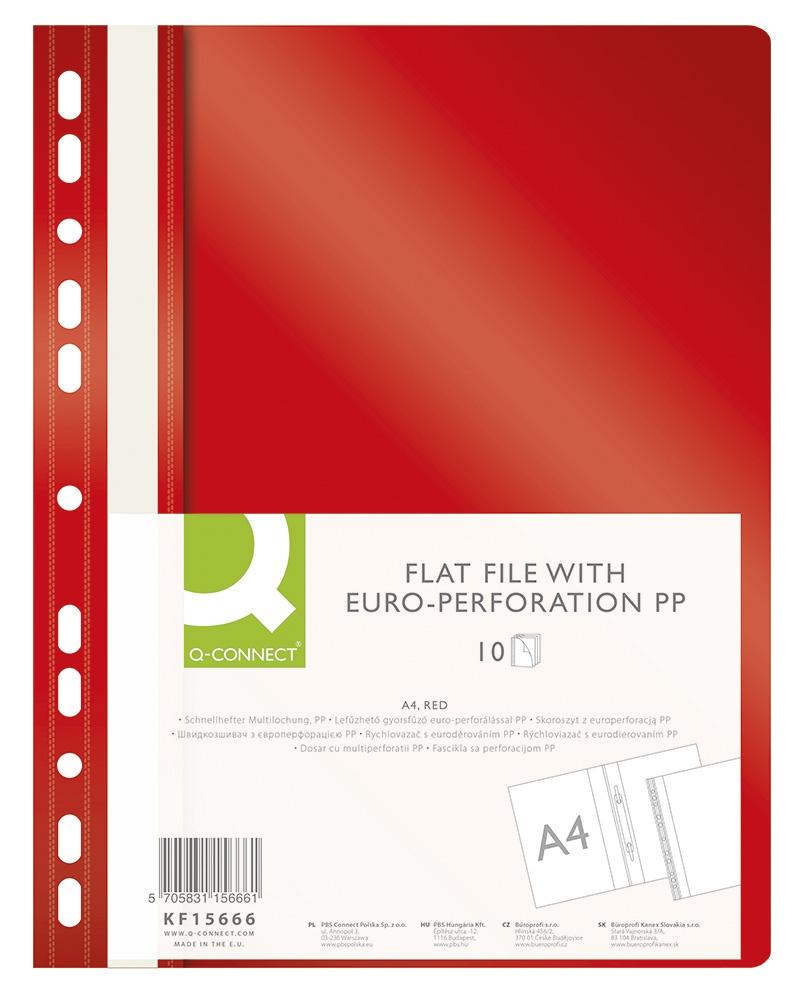 Skoroszyt Q-CONNECT, PP, A4, standard, 120/170mikr., wpinany, czerwony, Skoroszyty do segregatora, Archiwizacja dokumentów