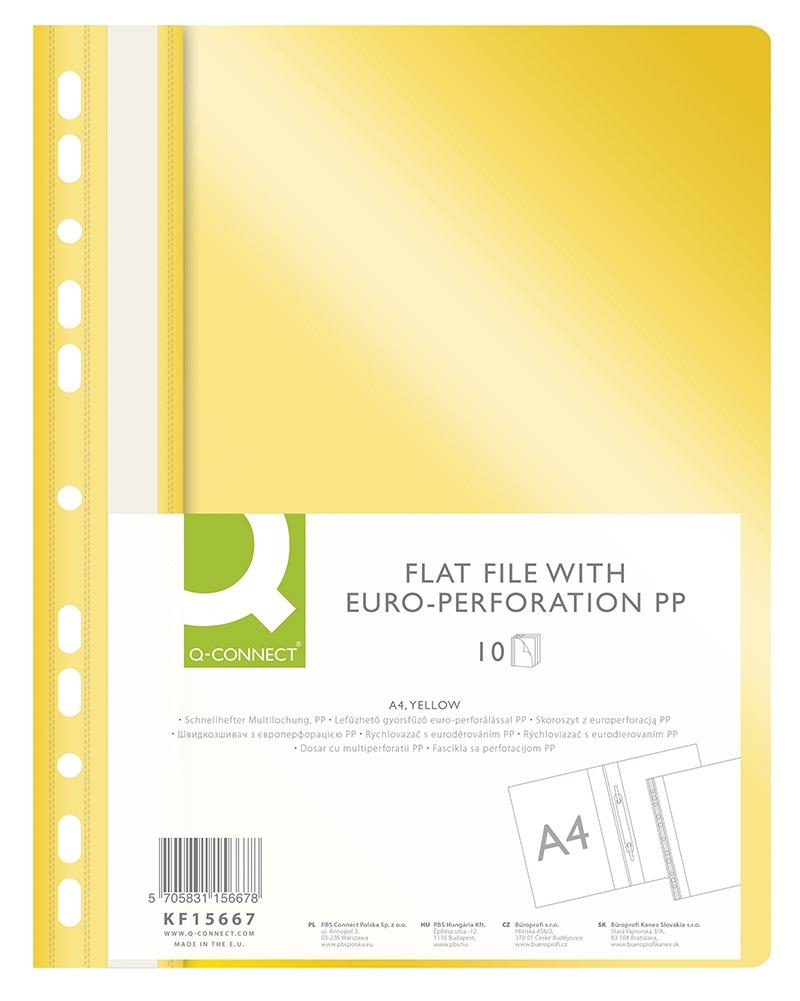Skoroszyt Q-CONNECT, PP, A4, standard, 120/170mikr., wpinany, żółty, Skoroszyty do segregatora, Archiwizacja dokumentów