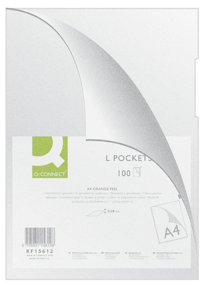 Obwoluta Q-CONNECT typu L, PP, A4, groszkowa, 80mikr., 100szt., transparentna, Koszulki i obwoluty, Archiwizacja dokumentów