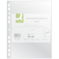 Punched Pockets Q-CONNECT, PP, A4, cristal, 50 micron, 100pcs