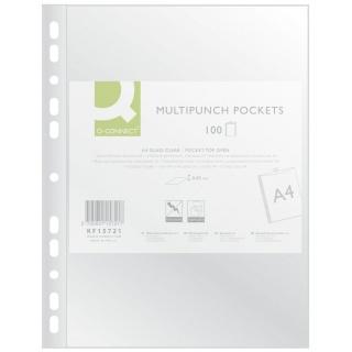 Koszulki na dokumenty Q-CONNECT, PP, A4, krystal, 50mikr., 100szt., Koszulki i obwoluty, Archiwizacja dokumentów